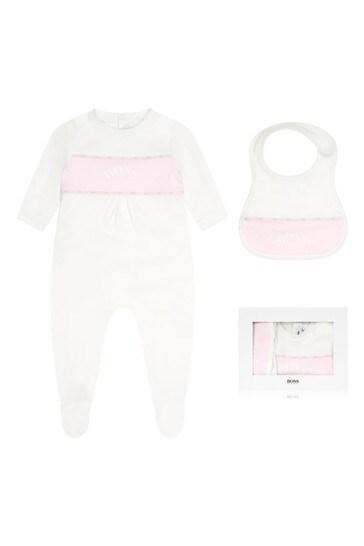 Baby Girls White Cotton Babygrow Set