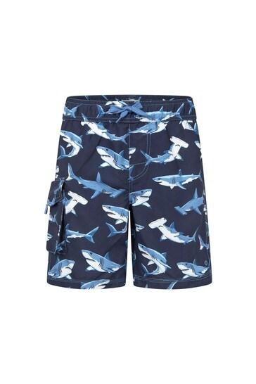 Hatley Boys Blue Deep Sea Sharks Swim Trunks