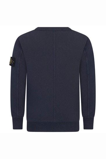 Boys Navy Cotton Sweat Top