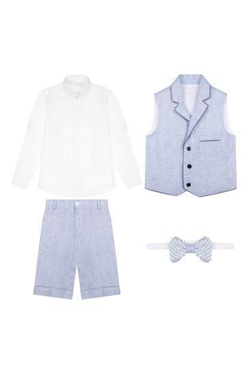 Boys Blue Linen Set