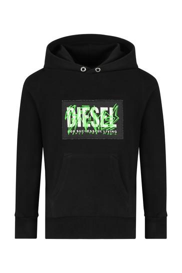 Diesel Boys Black Cotton Sweat Top