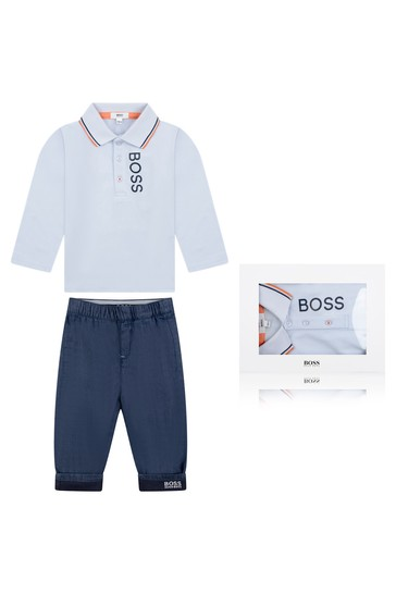 Baby Boys Blue Poloshirt & Trousers Gift Set