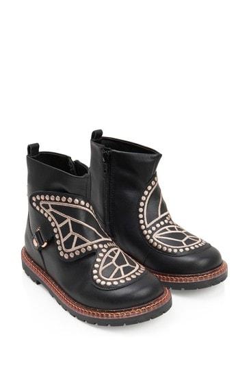 Girls Black Leather Karina Boots