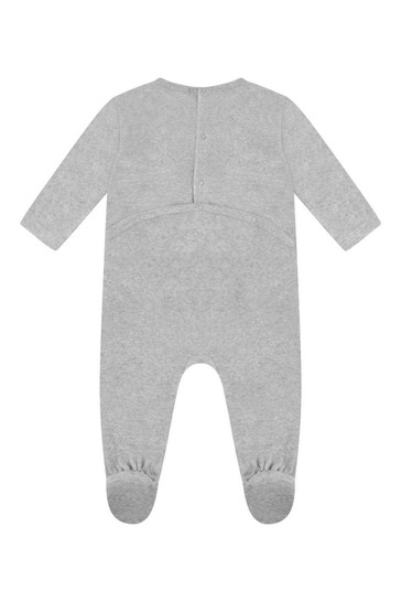 Boys Grey Organic Cotton Velour Babygrow