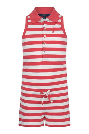 Girls Red Striped Cotton Polo Playsuit