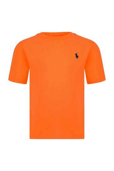 Baby Boys Orange Cotton T-Shirt