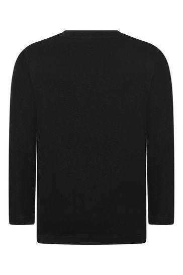 보이즈 블랙 코튼 롱 슬리브 티셔츠