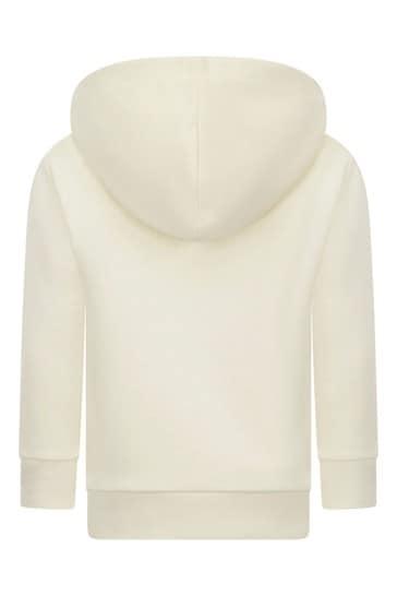 Girls White Cotton Hoodie