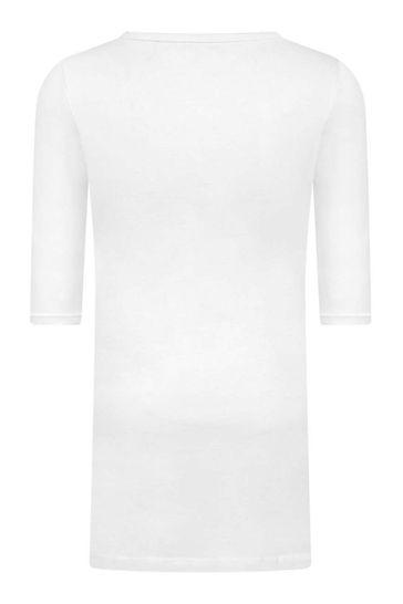 Girls White Cotton Logo Dress