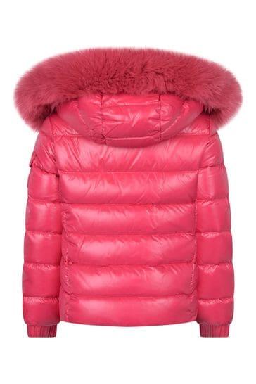 Girls Pink Down Padded Bady Faux Fur Jacket