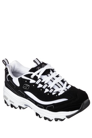 Skechers® Wide Fit BlackWhite D'Lites Trainer
