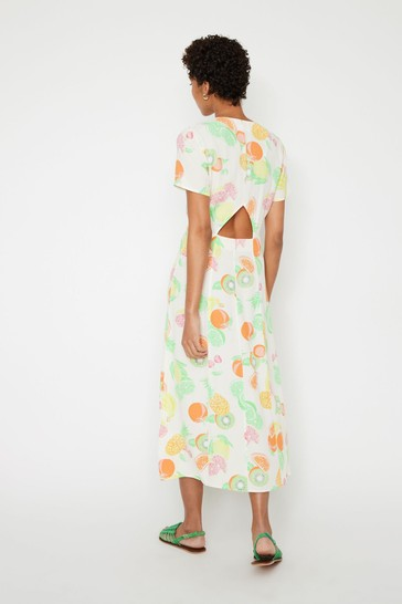 Buy Warehouse Natural Fruit Salad Cut Out Midi Dress from