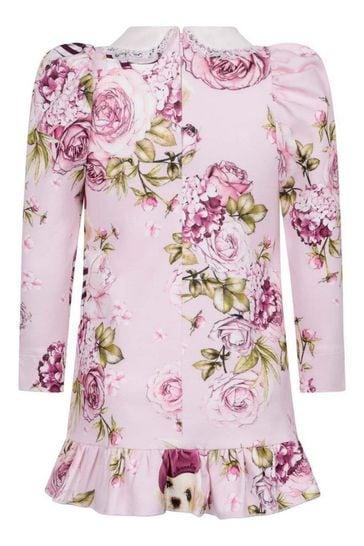 Girls Pink Cotton Rose Milano Dress