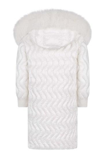 Girls White Down Padded Pearl Long Jacket