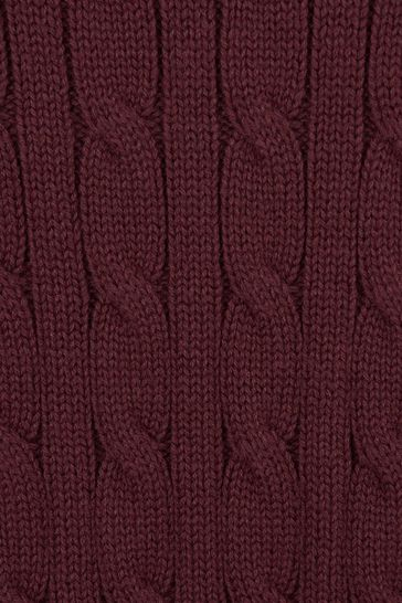 Boys Burgundy Cotton Cable Knit Sweater