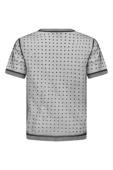 Girls White Embellished T-Shirt