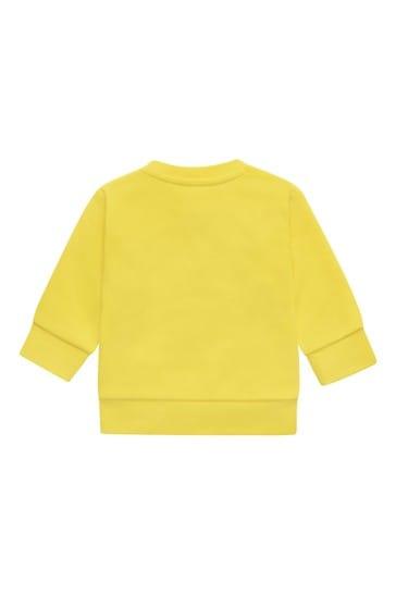 BOSS Baby Boys Yellow Cotton Sweat Top