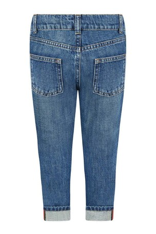 Boys Blue Denim Turn-Up Jeans With Webbing