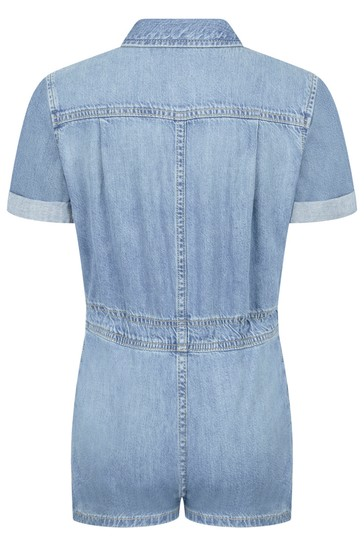 Girls Blue Cotton Playsuit