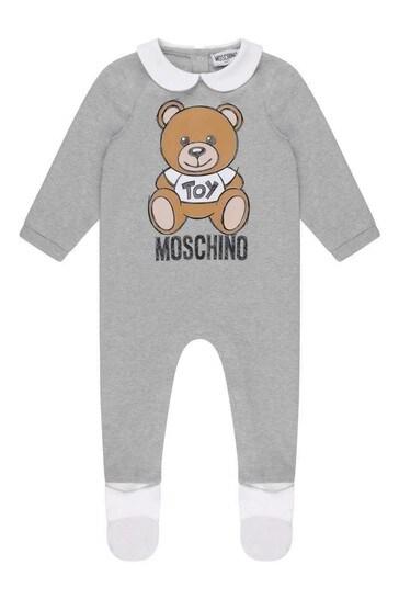 Grey Cotton Teddy Babygrow