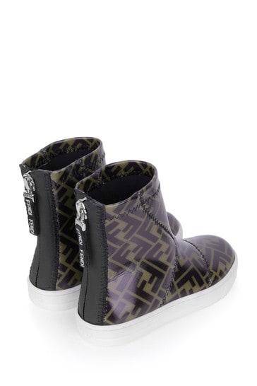 Kids Patent Brown FF Logo Boots