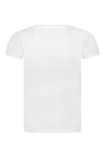 걸스 화이트 코튼 브랜드 티셔츠