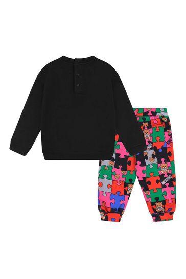 Baby Girls Black Cotton Jigsaw Tracksuit