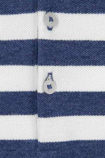 Girls Navy Striped Cotton Polo Playsuit