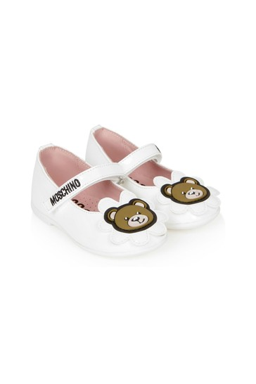 Girls White Leather Shoes