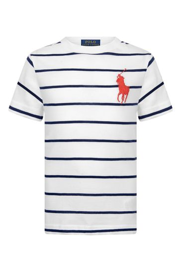 소년 화이트 스트라이프 코튼 티셔츠