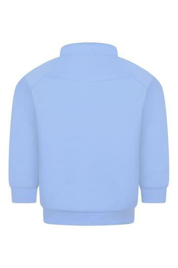 Baby Boys Blue Logo Trim Zip Up Top