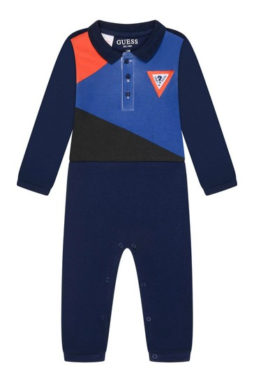 Baby Boys Navy Cotton Polo Coverall