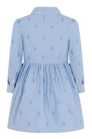 Girls Blue Cotton Oxford Shirt Dress