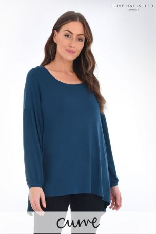 Live Unlimited Curve Petrol Jersey Top With Blouson Sleeve