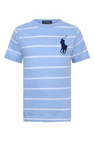보이즈 블루 스트라이프 코튼 티셔츠