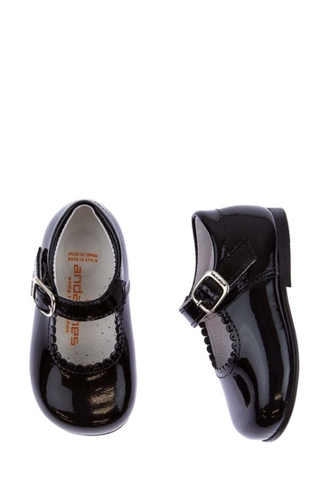 Girls Patent Black Scalloped Edge Mary Jane Shoes