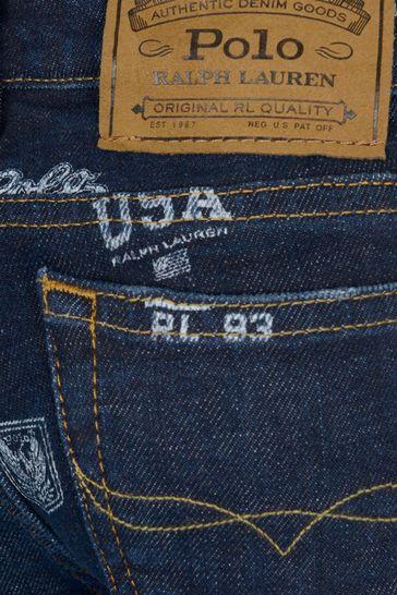 Boys Blue Denim Logo Print Jeans