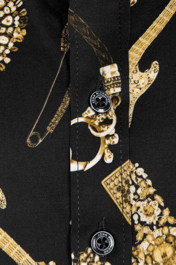 Boys Black Gold Cotton Shirt