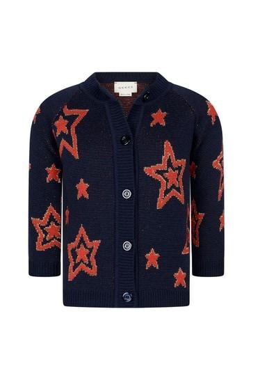 Girls Navy Wool Knitted Cardigan