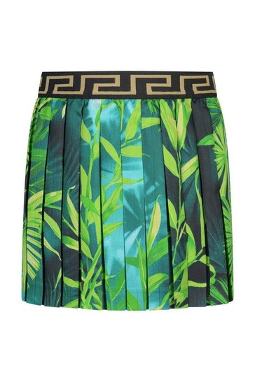 Girls Green Jungle Print Silk Pleated Skirt