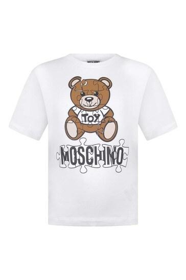Kids White Cotton Teddy T-Shirt