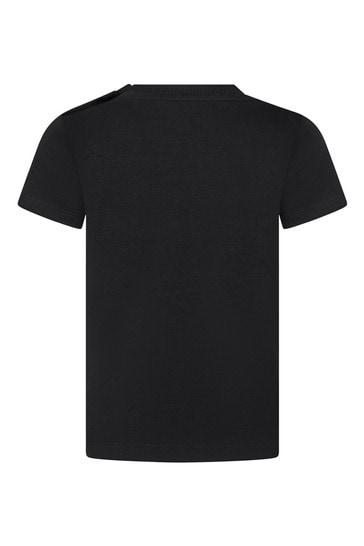 베이비 보이즈 블랙 코튼 티셔츠