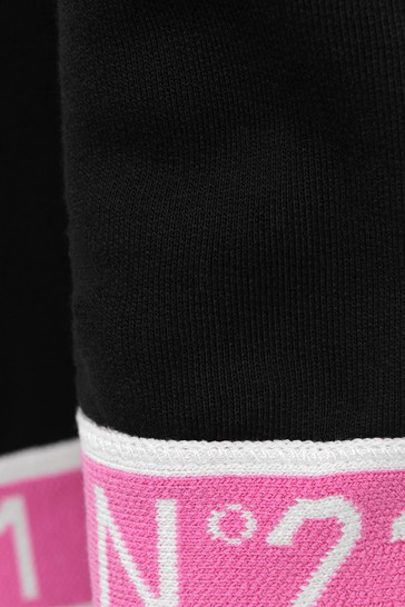 Girls Black/Fuchsia Cotton Joggers