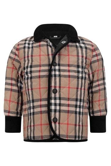 아기 소년 베이지 빈티지 체크 퀼트 재킷
