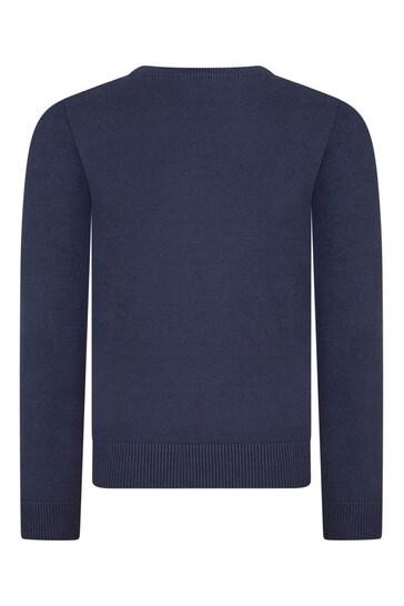 보이즈 네이비 코튼 로고 스웨터