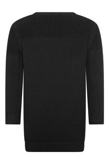 Girls Black Wool Mix Knitted Dress