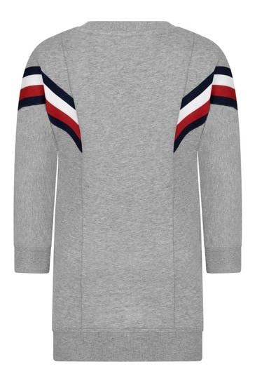 걸스 그레이 코튼 블렌드 스웨터 드레스