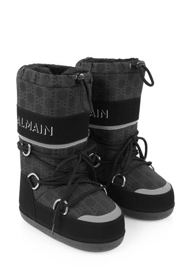 Kids Black Logo Moon Boots
