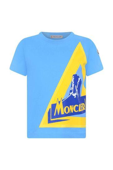 보이즈 블루 코튼 로고 프린트 티셔츠