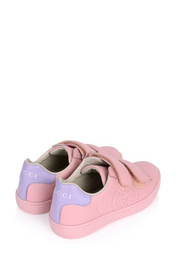 Pink Leather New Ace Velcro Trainers